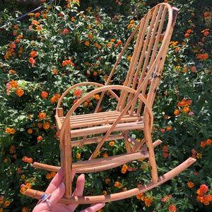 Mini Rattan Rocking Chair Plant Stand